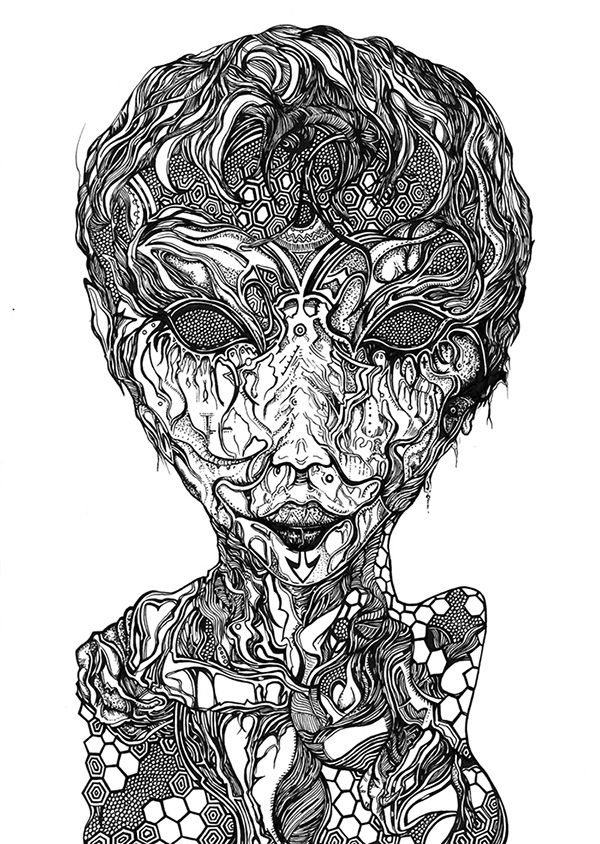The Smile of the statue, ink drawing 2014 by Charlie Drawing